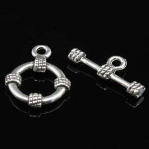 Bar and ring toggle, Zinc alloy, Silver colour, black, 1 Pair, 19mm,14mm x 19mm, [LJP219]
